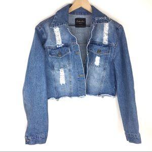 Jackets & Blazers - TRENDY Cropped Distressed Denim Jean Jacket